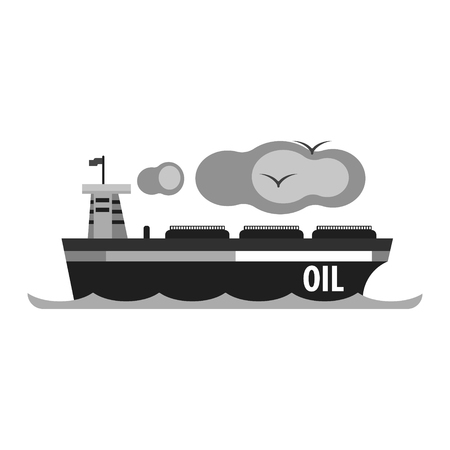 Oil tanker ship. Production and transportation of oil and oil products. Flat vector illustration