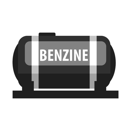 Benzine fuel tank. Production and transportation of oil and oil products. Flat vector illustration