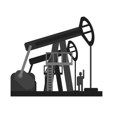 Oil pump jacks. Oil industry production equipment, Flat vector illustration