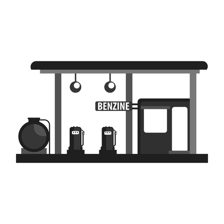 Gas petroleum petrol refill station. Gasoline and oil station. Flat vector illustration