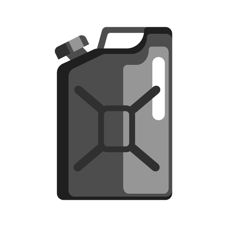 Black jerrycan used to store gasoline and petroleum products. Flat vector illustration Illustration