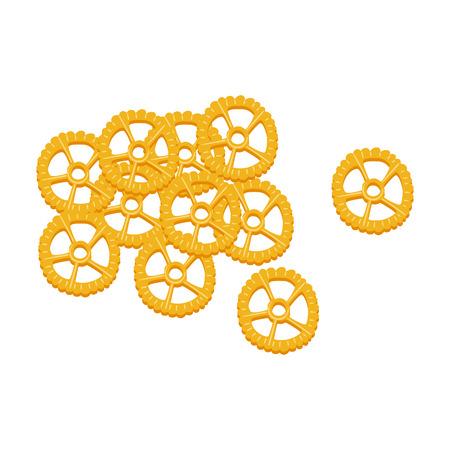 Rotelle pasta. Raw pasta, macaroni, cartoon illustration