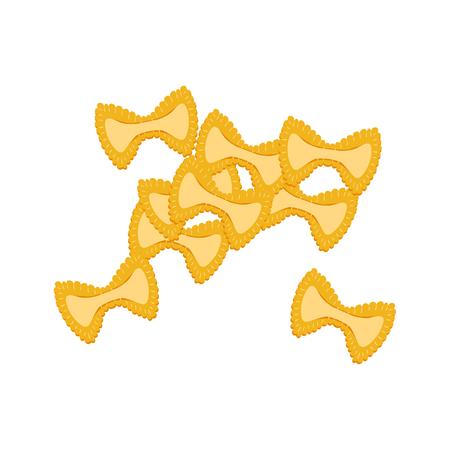 Farfalle pasta. Raw pasta, macaroni, cartoon illustration Illustration