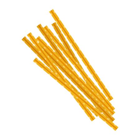 Maccheroni pasta. Raw pasta, macaroni, cartoon illustration Illustration