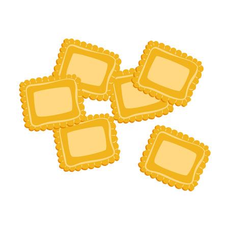 Ravioli pasta. Uncooked italian pasta, macaroni, cartoon illustration