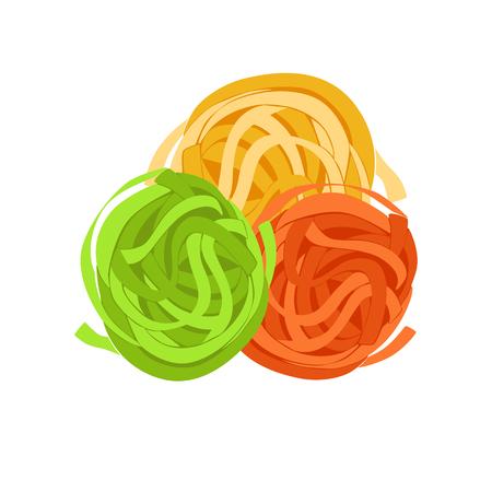 Fettuccine pasta. Uncooked italian pasta, macaroni, cartoon illustration