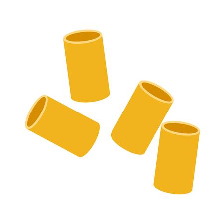 Cannelloni pasta. Raw pasta, macaroni, cartoon illustration