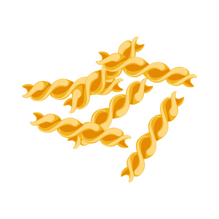 Fusilli pasta. Raw pasta, macaroni, cartoon illustration