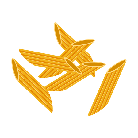 Penne pasta. Raw pasta, macaroni, cartoon illustration