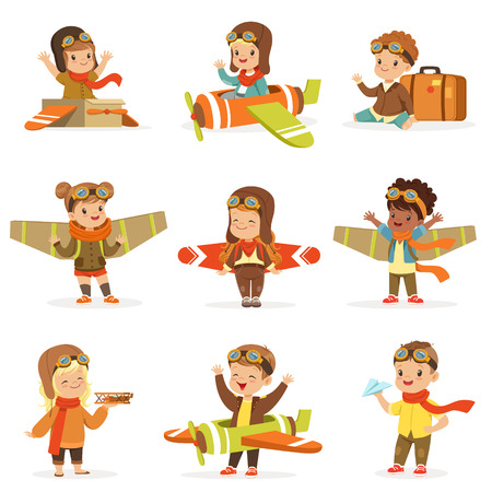 Piccoli bambini in costumi pilota Sognando di pilotare l'aereo, giocando con i giocattoli Personaggi dei cartoni animati adorabili. I bambini sognano la futura professione d'arte Set di illustrazioni vettoriali carino con bambini felici. Archivio Fotografico - 75576661