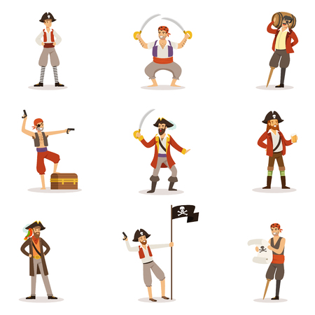Pirate Sailors With Classic Filibusterer Attributes Set Of Smiling Male Characters With Guns And Sabers. Illustration