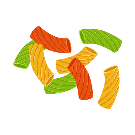 carbohydrate: Colored dry elbow macaroni. Uncooked italian pasta, macaroni, cartoon illustration