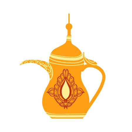 middle eastern food: Golden arabic teapot, colorful vector illustration