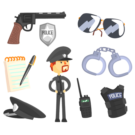 Professional Policeman And His Tools, Man And His Profession Attributes Set Of Isolated Cartoon Objects Illustration