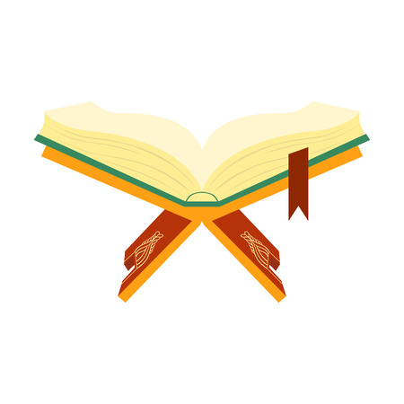 holy book: Quran, holy book of Muslims on a wooden book stand. Colorful vector illustration isolated on a white background