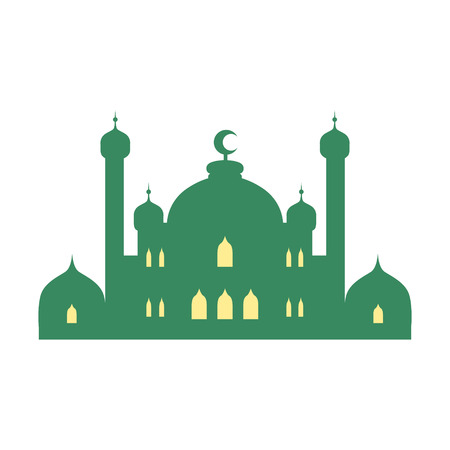 crescent: Mosque and minarets. Colorful vector illustration isolated on a white background.