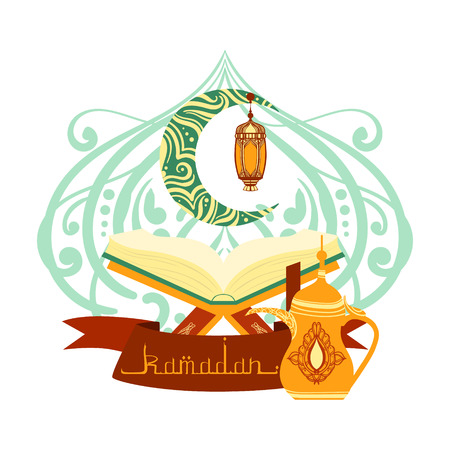 Holy book of Quran with lamp, ramadan greeting card. Colorful vector illustration Illustration