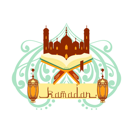 Ramadan greeting card with arabic calligraphy. Koran book and mosque. Colorful vector illustration isolated on a white background