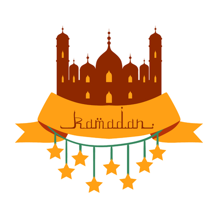 Ramadan Kareem greeting card with arabic calligraphy and stars. Colorful vector illustration isolated on a white background.