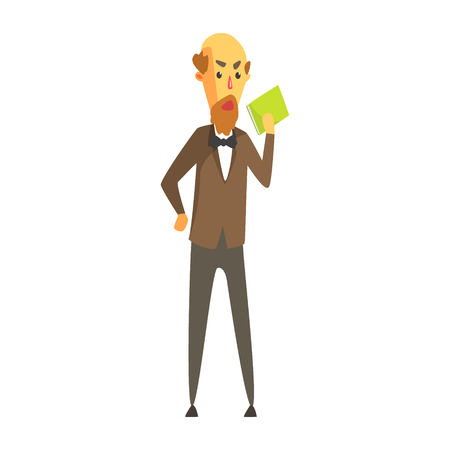 Bald bearded man in a jacket and bow tie standing with book in his hand. Colorful cartoon character Illustration