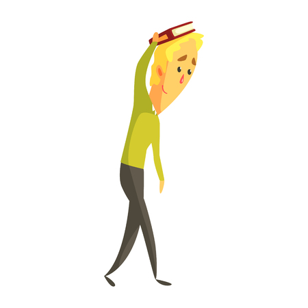 Young blond man standing and holding a book on his hand. Colorful cartoon character