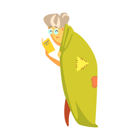 eyewear: Senior woman standing covered with a green blanket and reading a book. Colorful cartoon character Illustration