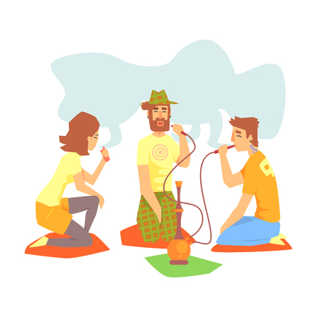 Young Cool People Smoking Hookah And Vaporizer Sitting On The Floor Illustration With Smokers And Vapers
