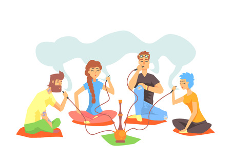 Young Cool Hipsters Smoking Hookah Sitting On The Floor Illustration With Smokers And Vapers