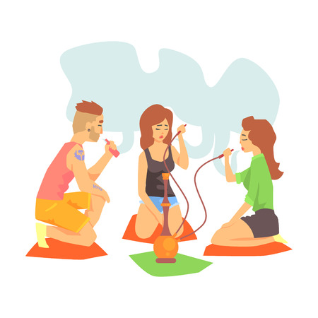 legs crossed: Young Cool Hipsters Smoking Hookah And Vaporizer Sitting On The Floor Illustration With Smokers And Vapers Illustration