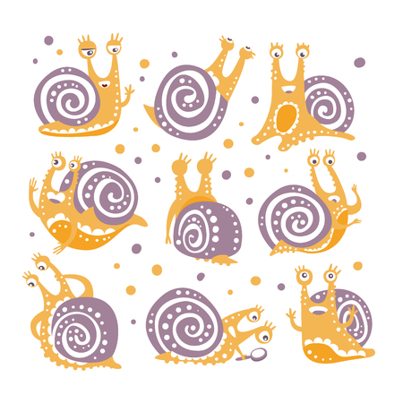 Yellow Snail With Purple Shell Different Poses Set Of Stylized Vector Flat Illustrations In Artistic Style