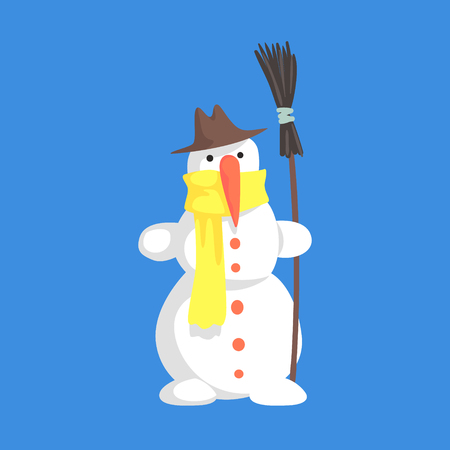 Alive Classic Three Snowball Snowman In Hat And Yellow Scarf Holding A Broom Cartoon Character Situation