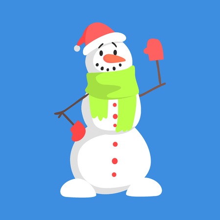 Alive Classic Three Snowball Snowman In Santa Claus Hat And Green Scarf Greeting Cartoon Character Situation Illustration