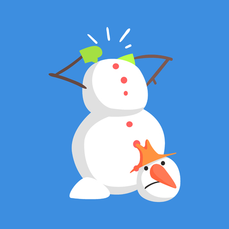 Alive Classic Three Snowball Snowman Lost His Head Cartoon Character Situation