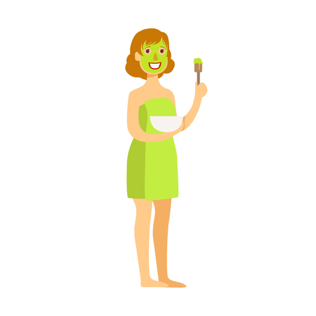 Woman standing with green face mask applied to her face. Colorful cartoon character isolated on a white background Illustration