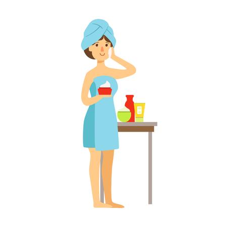De vrouw in badhanddoek past room op haar gezicht en schoonheid toe en houdt room in haar hand. Kleurrijk beeldverhaalkarakter dat op een witte achtergrond wordt geïsoleerd Stockfoto - 75982409