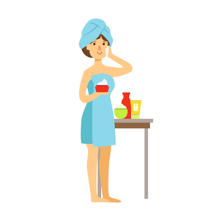 Woman in bath towel is applying cream on her face and beauty and holding cream in her hand. Colorful cartoon character isolated on a white background Çizim