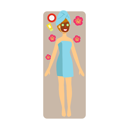 Relaxed woman with chocolate face mask applied to her face. Colorful character isolated on a white background Illustration