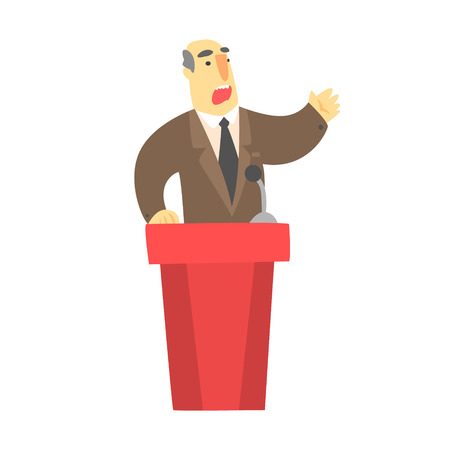 A man public speaking behind a red tribune in a brown suit Illustration