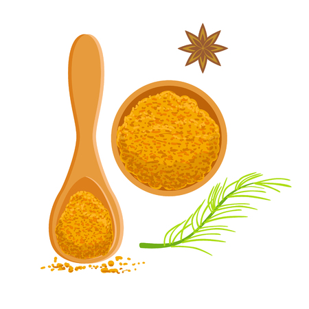 Turmeric powder in a wooden bowl and scoop. Colorful cartoon illustration Illustration