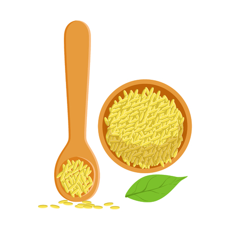 Sesame seeds in a wooden bowl and spoon, herbs and spices selection. Colorful cartoon illustration