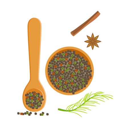 Wooden bowl and spoon of peppercorns, herbs and spices selection. Colorful cartoon illustration