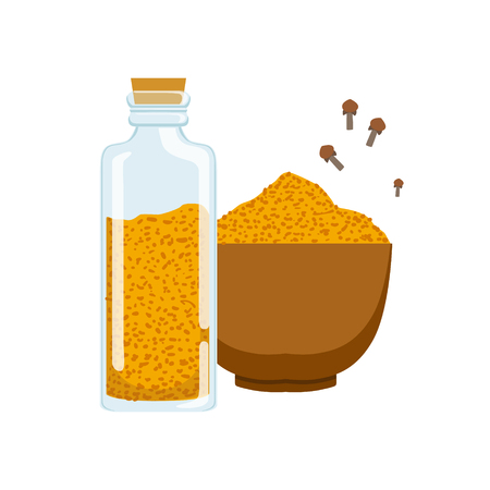 Curry powder in a wooden bowl and glass jar. Colorful cartoon illustration