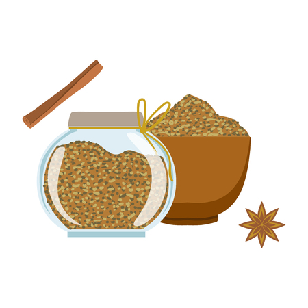 Fennel seeds in a wooden bowl and glass jar. Colorful cartoon illustration Illustration