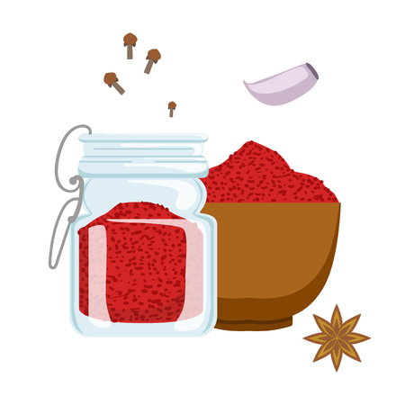 Red paprika powder in wooden bowl and glass jar. Colorful cartoon illustration