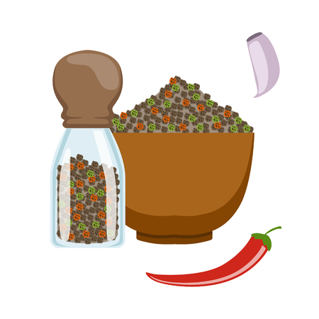 Bowl and glass jar with colorful peppercorns. Colorful cartoon illustration Illustration