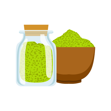 Green spices in a wooden platter and spoon. Colorful cartoon illustration