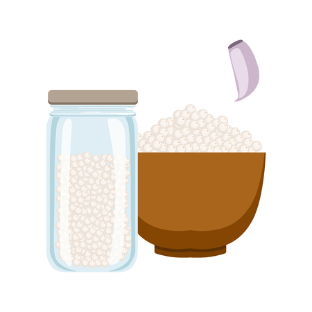 Sea salt in a wooden bowl and glass jar. Colorful cartoon illustration