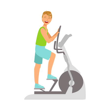 Young man working out using elliptical trainer. Colorful cartoon character Stock Vector - 75927491