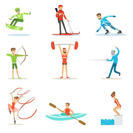 アダルト人々 の練習の様々 なオリンピック スポーツの競技に参加する陽気な制服を着た漫画文字のセット  イラスト・ベクター素材
