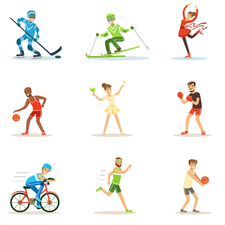 Adult People Practicing Different Olympic Sports Series Of Cartoon Characters In Sportive Uniform Participating In Competition